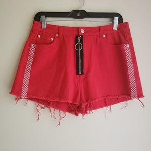 Boujee Red High Rise Checkered Detail Shorts